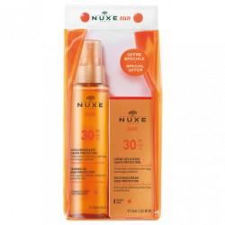 Nuxe Sun Huile Bronzante Visage et Corps SPF 30 150 ml + Sun Crème Délicieuse Visage Haute Protection SPF 30 50 ml