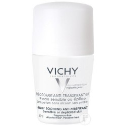 VICHY DEODORANT ANTI TRANSPIRANT 48H PEAUX SENSIBLES OU EPILEES ROLL-ON 50ML