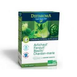 DIETAROMA DIGESTION BIO ARTICHAUT FENOUIL BASILIC CHARDON-MARIE C.I.P B20 AMPOULES