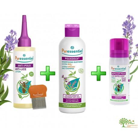 Lotion anti lice + répulsif poux + Shampoing anti poux Bio OFFERT