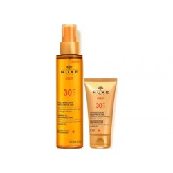 NUXE SUN TANNING OIL FOR FACE AND BODY SPF30 150ML + SUN DELICIOUS CREAM FOR FACE HIGH PROTECTION SPF30 50ML